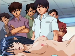Hentai Cutie in glasses pleasures towering wang till stuffed